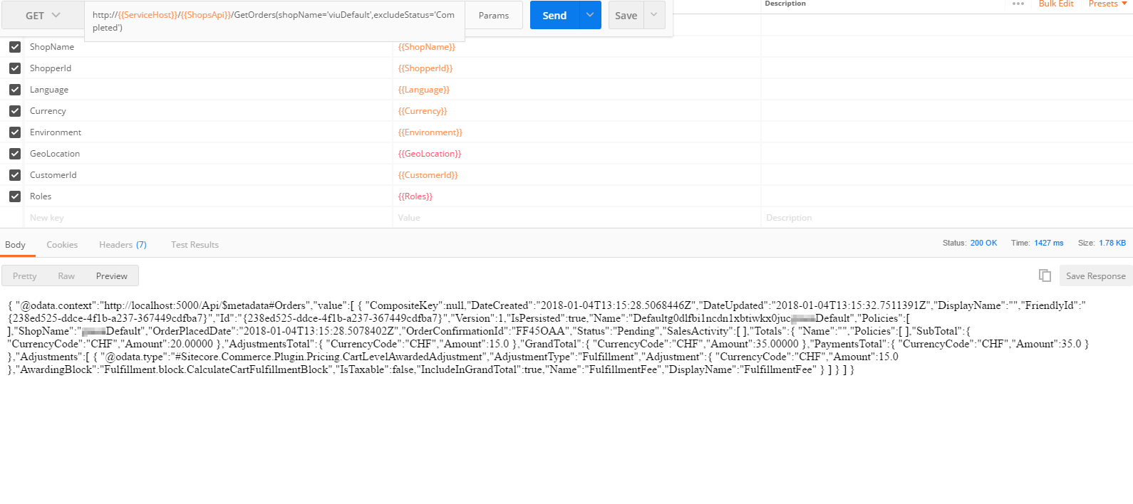 Example request to the new api with Postman